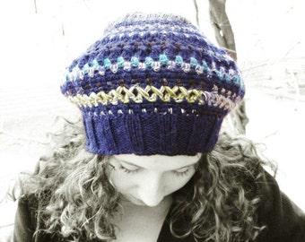 Slouchy beanie hat women blue wool OOAK fairy rustic beret winter hand crochet feminine bohemian clothing