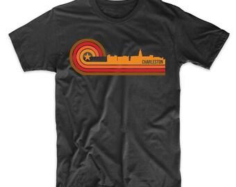 Retro Style Charleston South Carolina Skyline T-Shirt