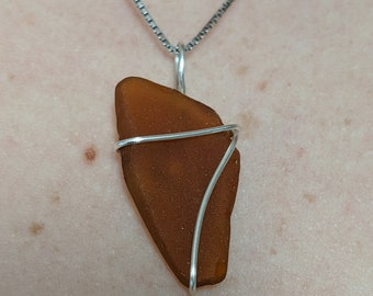 Wire Wrapped Beach Glass Necklace Pendant | One Of A Kind Sea Glass Jewelry Pendant | Sea Glass Necklace | Sea Glass Beach Glass Jewelry