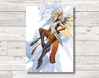 Overwatch  'Mercy' Character Fan Art Print, Digital Art Print, Original Art Print, Digital Print