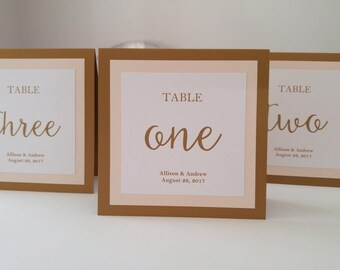 Wedding Table Number in my Elegant Three Layered Luxury Design Personalized with the Bride and Groom Names and Wedding Date