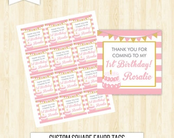 Pink favor tags birthday favor tags pink and gold favor tags girl favor tags printable first birthday favor tags square tags thank you 212