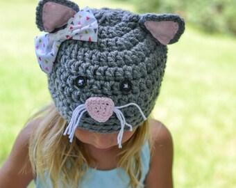 baby hat, kitty hat,  crochet cat hat, kitten hat, crochet kitty hat, girls cat hat, crochet kitten hat, , girls hat, baby winter hat