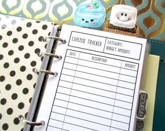 Printed Personal Size Expense Tracker
