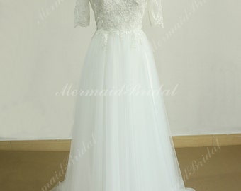 Flowy A line tulle lace beach wedding dress with middle calf sleeves