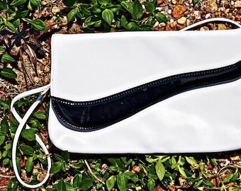 VTG- Gorgeous, Vintage 1980s, Black and White, Envelope Style, Clutch, Shoulder bag, with Black Patent  Asymmetrical Detail, Vegan