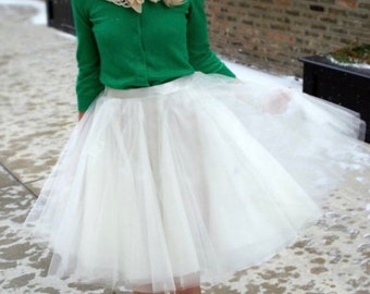White full circle knee length tulle skirt, rockabilly babe, made to order, all sizes