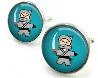 Ninja Cufflinks, Samurai Cufflinks,  groomsmen gift, gift for men, gift for him,ninja