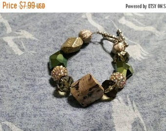 On Sale Avocado Green and Brown Glittery Toggle Clasp Bracelet Fashion Accessory Costume Jewelry