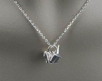 All Sterling silver Necklace with Origami Crane Bird Charm Pendant Simple everyday Jewelry