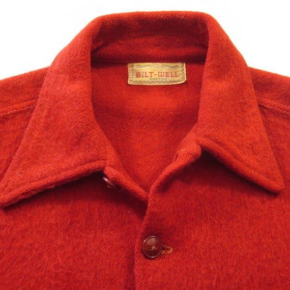 Mens 1 50s 15 Shirt Rockabilly L Vintage Boston USA Red Well Bilt Wool H75V A7qIw4