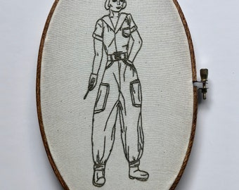War Bird // Hand Embroidery // Wall Art // Embroidery Hoop // Home Decor // Vintage Fashion // WWII // Gift