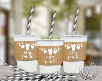 Clothesline Baby Shower | Paper Coffee Cup Customizable Sleeves |  social graces and co.