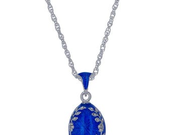 Olive Branches Blue Enamel Russian Royal Egg Pendant Necklace 22""
