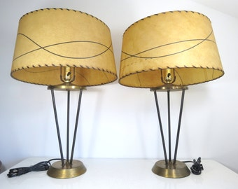 Mid Century Hairpin Lamps // Vintage Pair of 1950's Atomic Era Modern Style Table Lamps with Large Fiberglass Shades Rare Black Tripod
