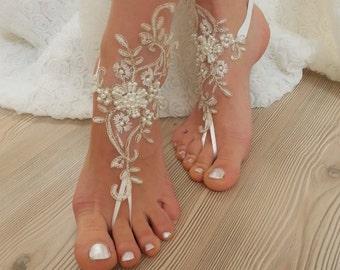 ivory gold frame, pearl  beaded Beach, wedding barefoot sandals, Ivory Barefoot Sandals, Sexy, Anklet , Bellydance, Steampunk, Beach Pool