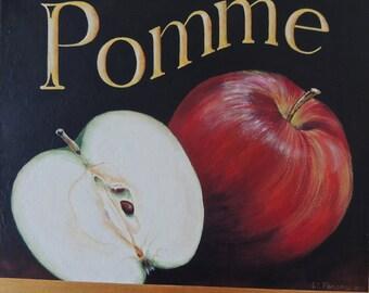 "Apples Still Life Mixed Media Painting Print on canvapaper 16"" x 20"" with 2"" border PFATT"