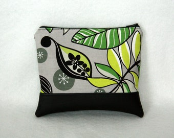 Zipper Pouch with Vinyl Accent - Black and Gray Floral