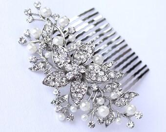 Bridal Hair Comb, Rhinestone Pearl Comb, Bridal Hairpiece, Wedding Hair Accessories, Bridal Headpiece, Vintage Wedding Comb, Bridal Combs