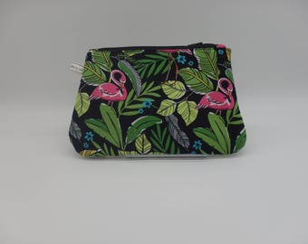 Flamingo Pouch, Pink Flamingos Clutch, Zip Pouch, Ditty Bag, Toiletry Kit, Cosmetics Case, Florida Gifts, Pencil Case,