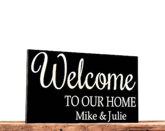 "Wooden Welcome Sign, Personalized Sign For Home, Family Name Wood Sign, Unique Wedding Gift For Couple, Measures 11.25"" x 19"", Housewarnming"