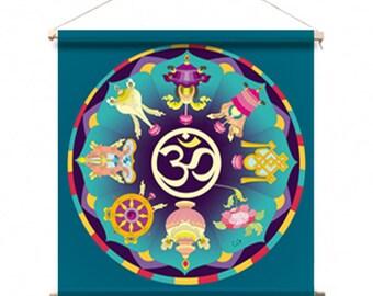 NEW Mandala fabric: 8 Tibetan Buddhist lucky symbols