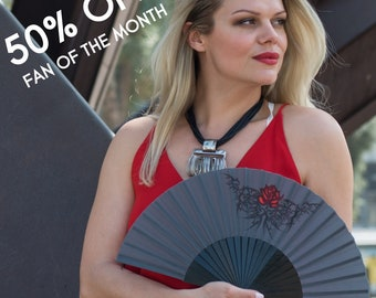 FOLDING FAN Goth style hand fan black with red rose tattoo design gothic wedding goth bride gift for her fashion accessories free shipping