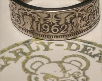 Two shilling coin ring, unique design.