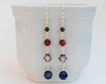 Sterling Silver Long Drop Statement Earrings with Jewel Colour Swarovski Crystals - Venetian Silver Crystal Drop Earrings