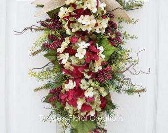 Hydrangea Wreath Swag for Front Door Decorating-Choose Your Color