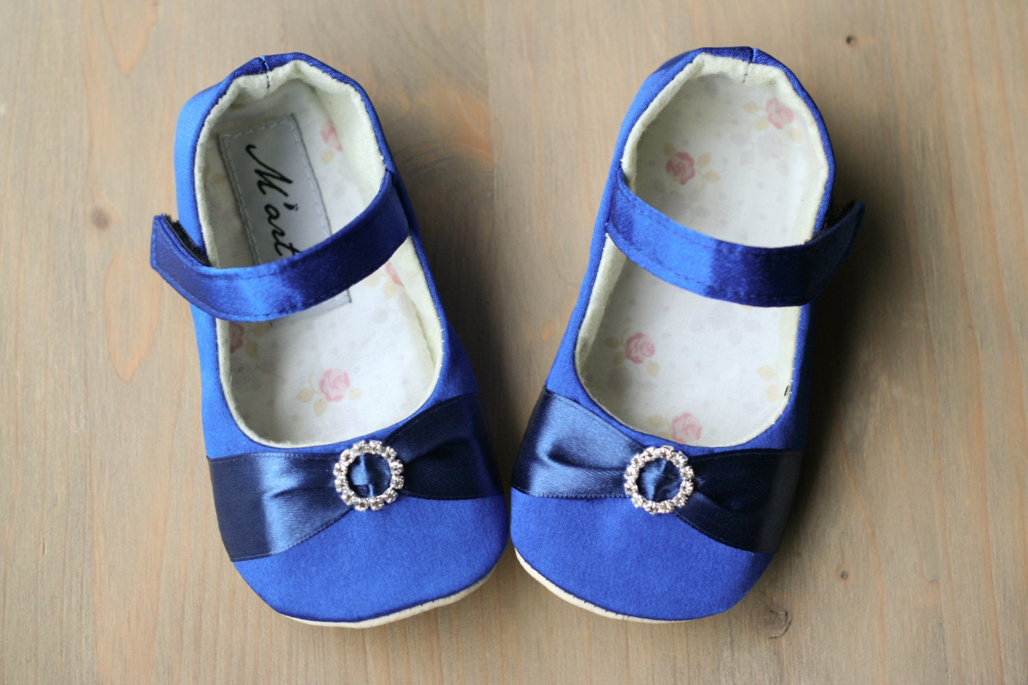 Royal Blue Baby Girl Rhinestone Shoes Blue Satin Slippers