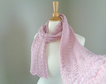 Cashmere Scarf, Pale Pink, Sparkly Glitter Scarf, Luxurious Wrap Scarf, Hand Knit, Women, Summer Style, Lace Texture, Elegant Fashion