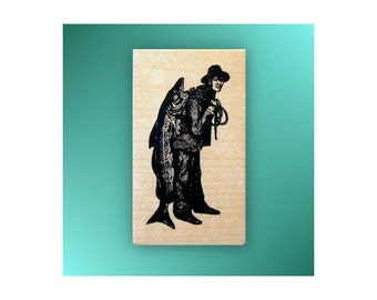 Man with Big Fish mounted rubber stamp, fishing, masculine, men, Father's Day, Sweet Grass Stamps No.14