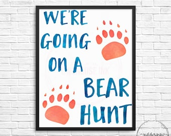 We're Going On A Bear Hunt Watercolour Digital Print 8x10