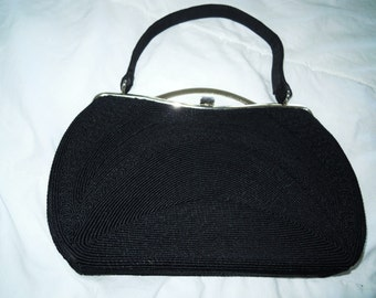 40s vintage GOLD SEAL Black corded Cord CLUTCH frame bag purse exc cond retro