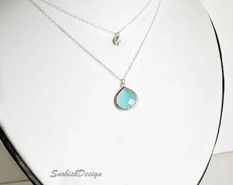 Aquamarine Necklace, Layered Necklace, Minimal Necklace, Dainty Necklace, Layer Necklace, Minimalist Necklace, March Birthstone, Delicate