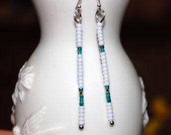 White and green stick earrings, Sterling silver earrings, Thin line beaded earrings, delicate small earrings, dainty earings, minimalist bar