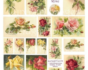 VICTORIAN ROSES, digital collage sheet, vintage images, flowers, floral, art, cards, ephemera, DOWNLOAD