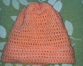 Hand Knit Adult Size Hat - Peach