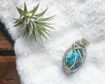 raw stone chrysocolla sterling silver wire wrapped pendant earthy boho jewelry natural stone necklace chunky chrysocolla pendant