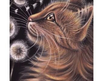 Maine Coon Cat Portrait Dandelion Summer Acrylic Original Painting 5x7
