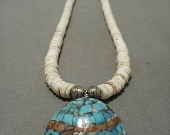 Gorgeous Vintage Santo Domingo Turquoise Shell Silver Necklace