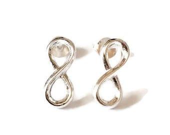 Sterling Silver Infinity Eight Stud Handmade Earrings