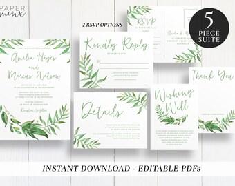 Editable Greenery Wedding Suite Template | Printable | Template | Wedding Invitations | Wreath | Greenery Invitation | Leaf | Amelia