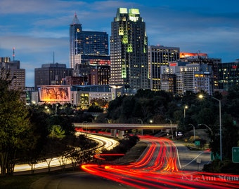 Raleigh,North Carolina,Metal Art,Skyline,Raleigh Art,Wall Art,Home Decor,Office Decor,NC State,Car Trails,City Skyline,Living Room Decor