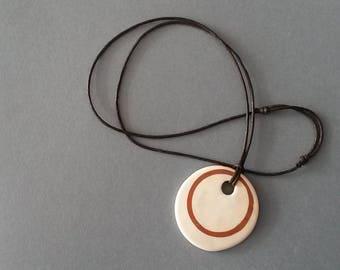 Inlay céramique pendentif rouge et blanc coton cordon idée réglable au sol pour vous