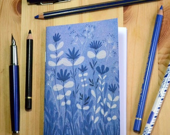 Small illustrated notebook - Blue Ink - pattern 2