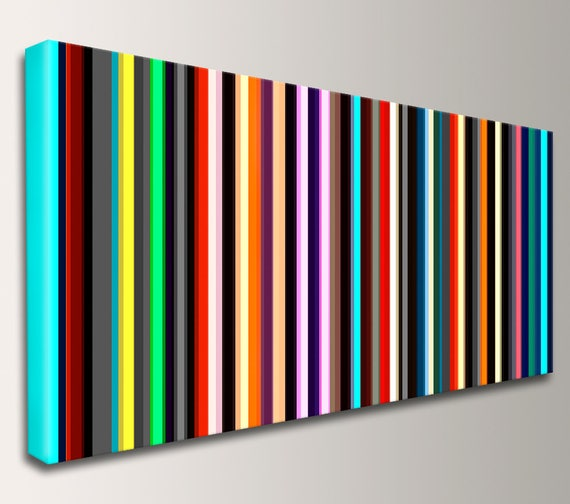"Stripe Art Panoramic Art Canvas Print Mid Century Modern Art Stripes Line Art Modern Art Wall Art Loft Art Home Decor - ""Parallel"""