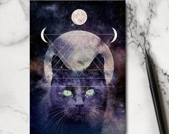 Sorcières de chat pour ordinateur portable - portable chat - sorcière carnet de notes - carnet magique - papeterie - bloc-notes - bloc-notes