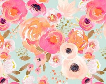Organic cotton Crib sheets and Mini crib sheets including Babybjorn Nuna sena Lotus Bloom Baby Graco etc Blushing Floral  Melon on Mist pink